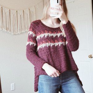 FREE PEOPLE Burgundy Knit High Low Wool Sweater S